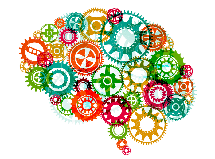 Brain graphic comprised of colorful gears